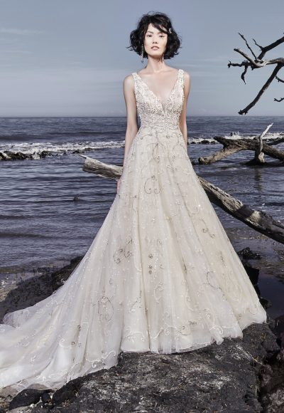 Beading And Embellishments Throughout V-neck Ball Gown Wedding Dress by Maggie Sottero
