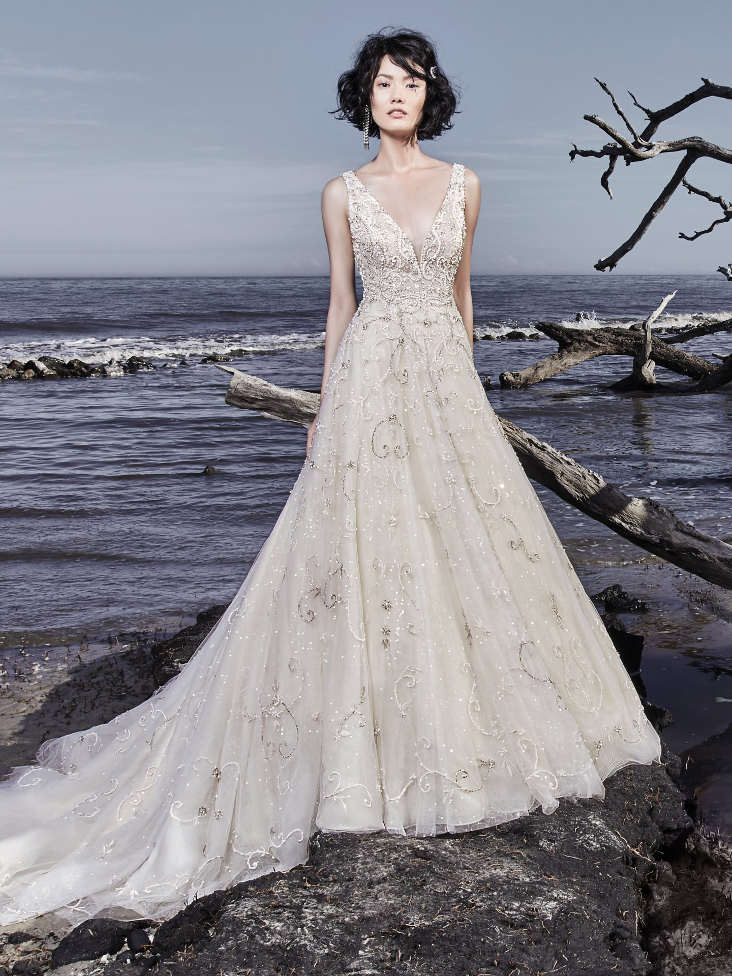 Beading And Embellishments Throughout V-neck Ball Gown Wedding Dress ...
