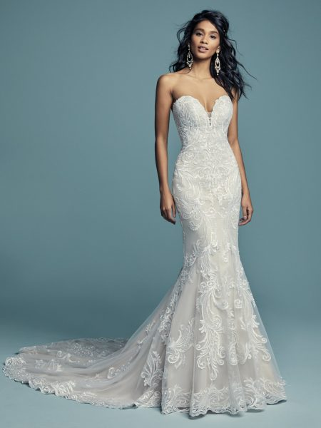 05b4298c4bc Beading And Embroidered Fit And Flare Wedding Dress