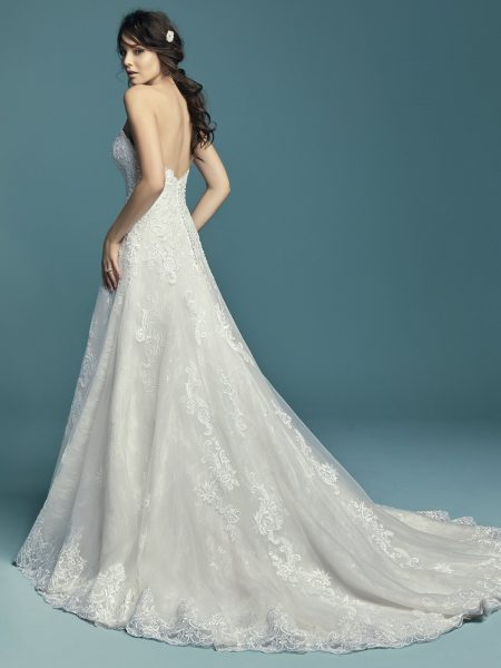 Off The Shoulder Beaded Sweetheart Bodice A-line Wedding Dress by Maggie Sottero - Image 2