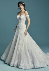 Off The Shoulder Beaded Sweetheart Bodice A-line Wedding Dress by Maggie Sottero - Image 1