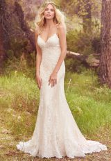 Spaghetti Strap Beaded Fit And Flare Wedding Dress by Maggie Sottero - Image 1