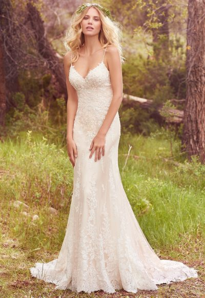 Spaghetti Strap Beaded Fit And Flare Wedding Dress by Maggie Sottero