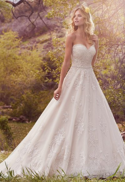 Sweetheart Neckline Beaded Bodice Full Skirt A-line Wedding Dress by Maggie Sottero