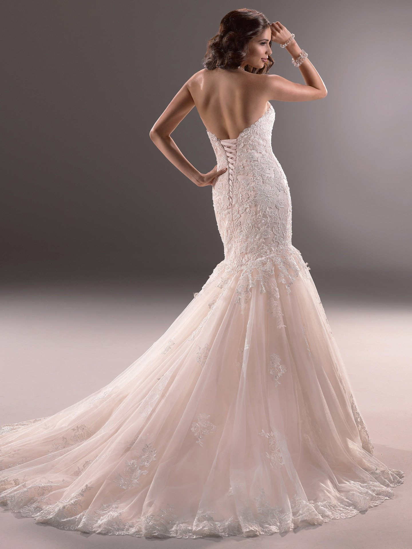 Sweetheart Neckline Lace And Tulle Fit And Flare Wedding Dress ...