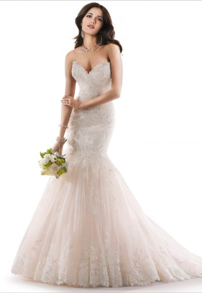 Sweetheart Neckline Lace And Tulle Fit And Flare Wedding Dress by Maggie Sottero