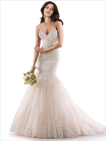 Sweetheart Neckline Lace And Tulle Fit And Flare Wedding Dress by Maggie Sottero - Image 1