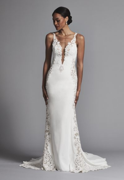 Romantic And Classic Illusion Lace Cutout Sheath Wedding Dress by Maison Signore