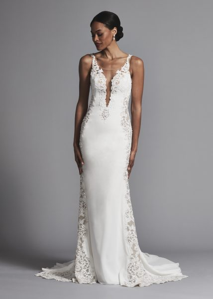 Romantic And Classic Illusion Lace Cutout Sheath Wedding Dress by Maison Signore - Image 1