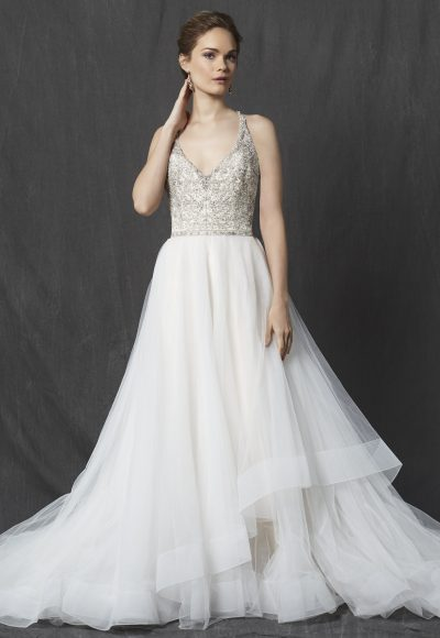 Beaded Bodice V-neck Sleeveless A-line Wedding Dress by Michelle Roth