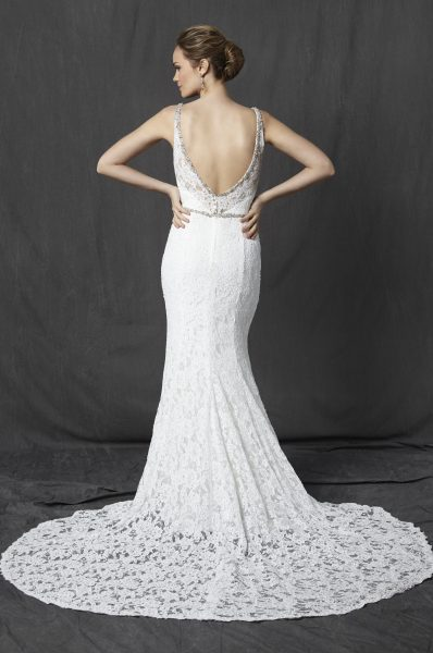 Beaded V-neck Neckline Lace Fit And Flare Wedding Dress by Michelle Roth - Image 2