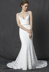 Beaded V-neck Neckline Lace Fit And Flare Wedding Dress by Michelle Roth - Image 1