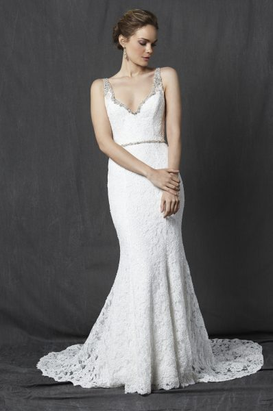 Beaded V-neck Neckline Lace Fit And Flare Wedding Dress | Kleinfeld ...