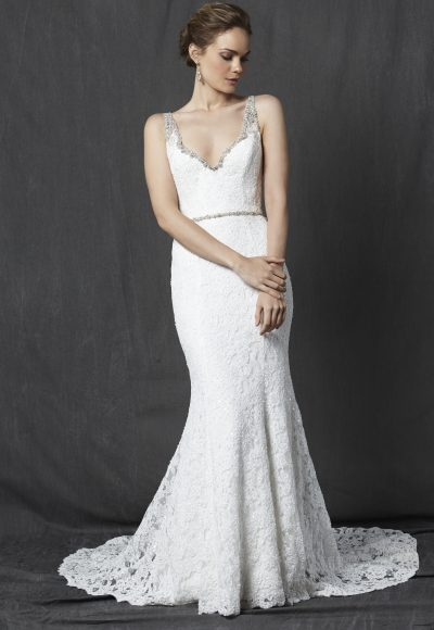 Beaded V-neck Neckline Lace Fit And Flare Wedding Dress by Michelle Roth