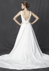 Deep V-neck Sleeveless Belted A-line Wedding Dress by Michelle Roth - Image 2