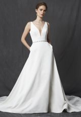 Deep V-neck Sleeveless Belted A-line Wedding Dress by Michelle Roth - Image 1