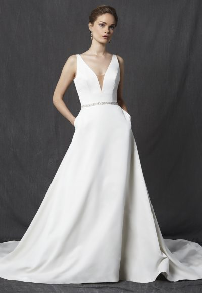 Deep V-neck Sleeveless Belted A-line Wedding Dress by Michelle Roth