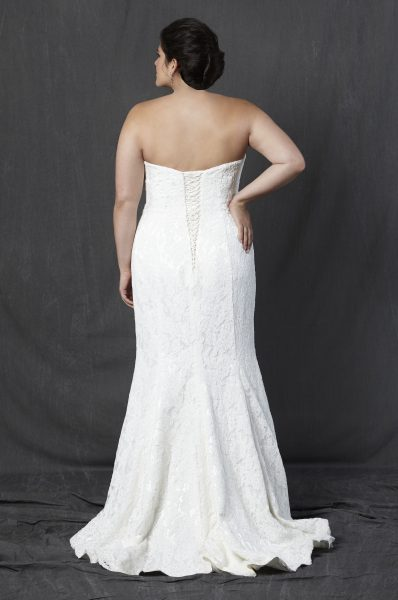 Full Lace Strapless Sweetheart Fit And Flare Wedding Dress by Michelle Roth - Image 2