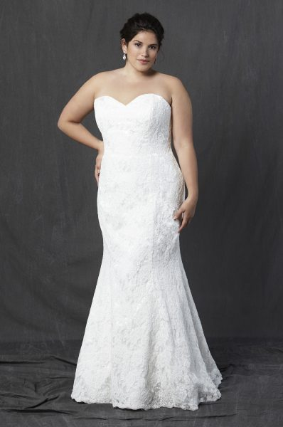 Full Lace Strapless Sweetheart Fit And Flare Wedding Dress by Michelle Roth - Image 1