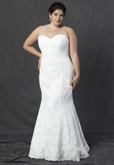 Full Lace Strapless Sweetheart Fit And Flare Wedding Dress by Michelle Roth