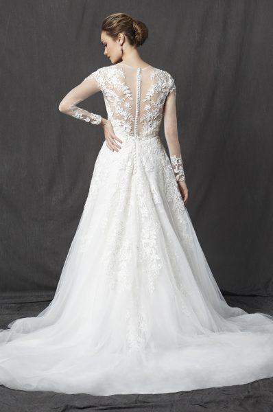 Illusion Sweetheart Neckline Long Sleeve Lace A-line Wedding Dress by Michelle Roth - Image 2