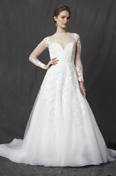 Illusion Sweetheart Neckline Long Sleeve Lace A-line Wedding Dress by Michelle Roth - Image 1