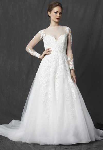 Illusion Sweetheart Neckline Long Sleeve Lace A-line Wedding Dress by Michelle Roth