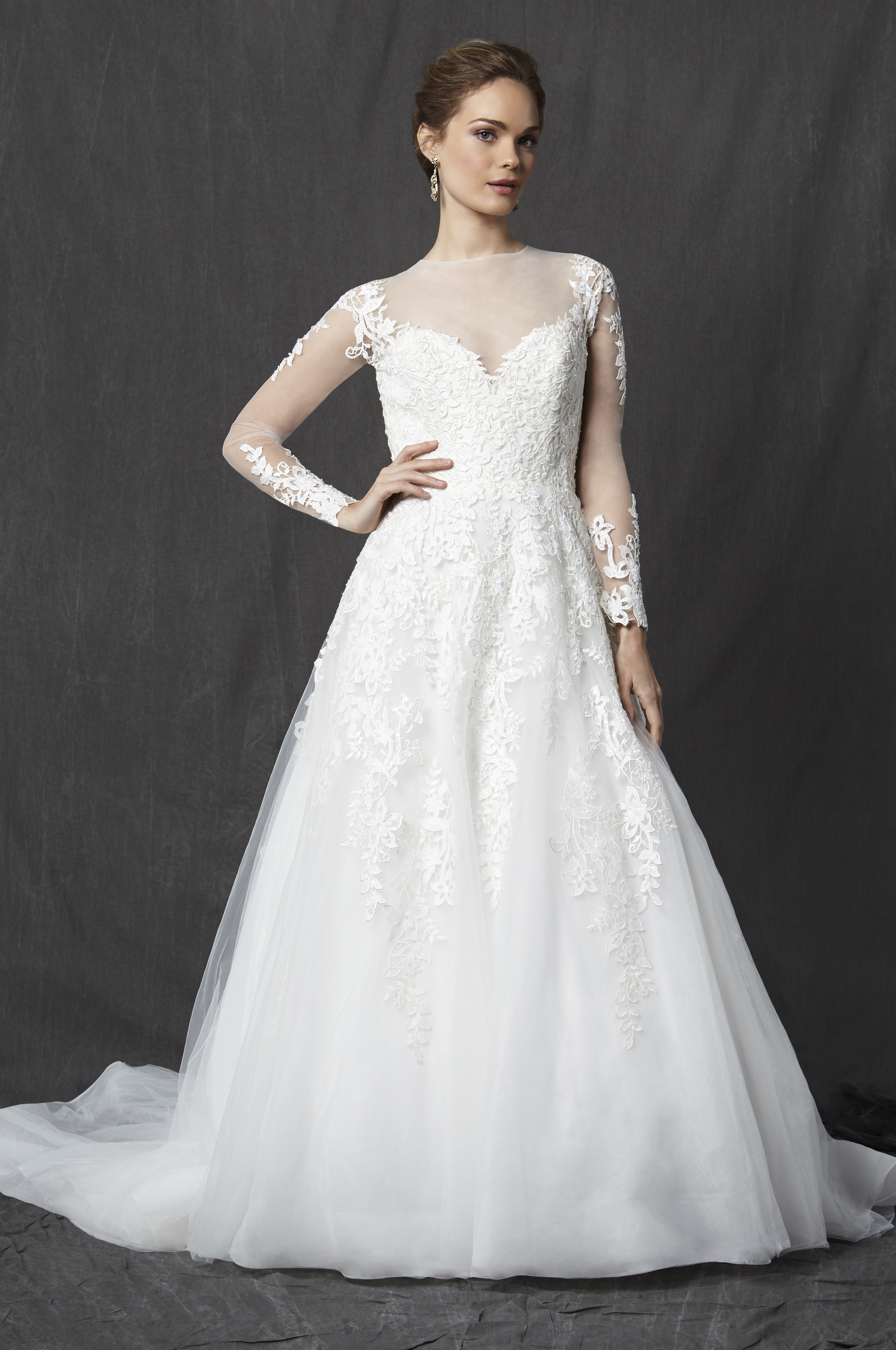 Illusion Sweetheart Neckline Long Sleeve Lace A Line Wedding Dress