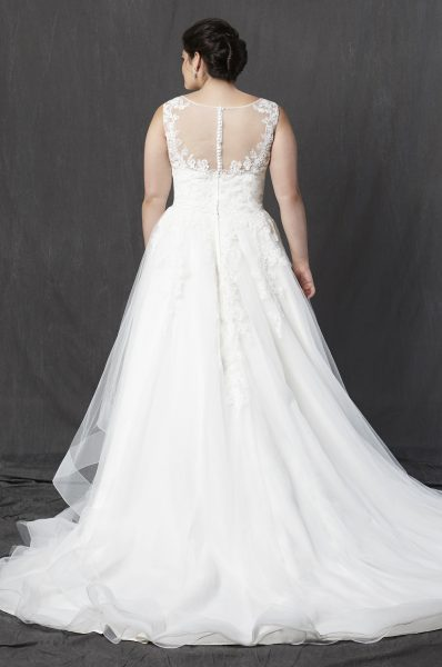 Illusion Sweetheart Neckline Sleeveless A-line Wedding Dress by Michelle Roth - Image 2