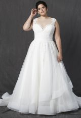 Illusion Sweetheart Neckline Sleeveless A-line Wedding Dress by Michelle Roth - Image 1
