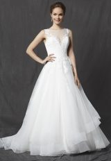 Illusion Sweetheart Sleeveless Lace Bodice Tulle Skirt A-line Wedding Dress by Michelle Roth - Image 1