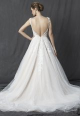 Lace Bodice V-neck Sleeveless A-line Wedding Dress by Michelle Roth - Image 2