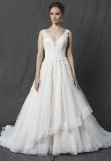 Lace Bodice V-neck Sleeveless A-line Wedding Dress by Michelle Roth - Image 1
