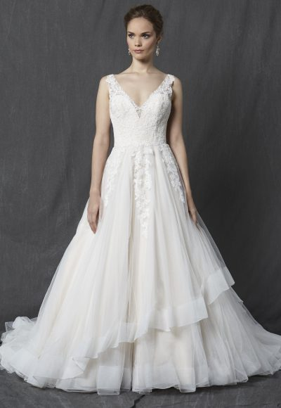 Lace Bodice V-neck Sleeveless A-line Wedding Dress by Michelle Roth
