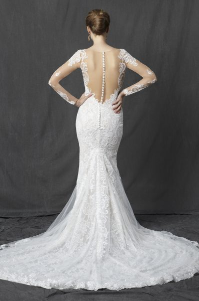 Long Sleeve Sweetheart Full Lace Sheath Wedding Dress by Michelle Roth - Image 2