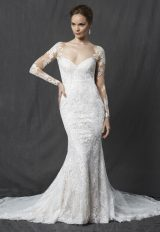 Long Sleeve Sweetheart Full Lace Sheath Wedding Dress by Michelle Roth - Image 1