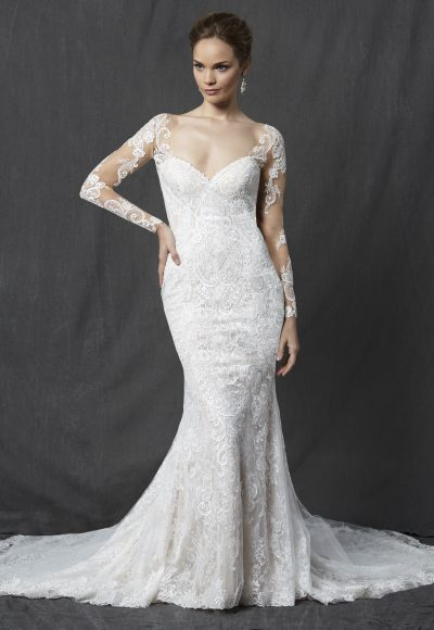 Long Sleeve Sweetheart Full Lace Sheath Wedding Dress by Michelle Roth