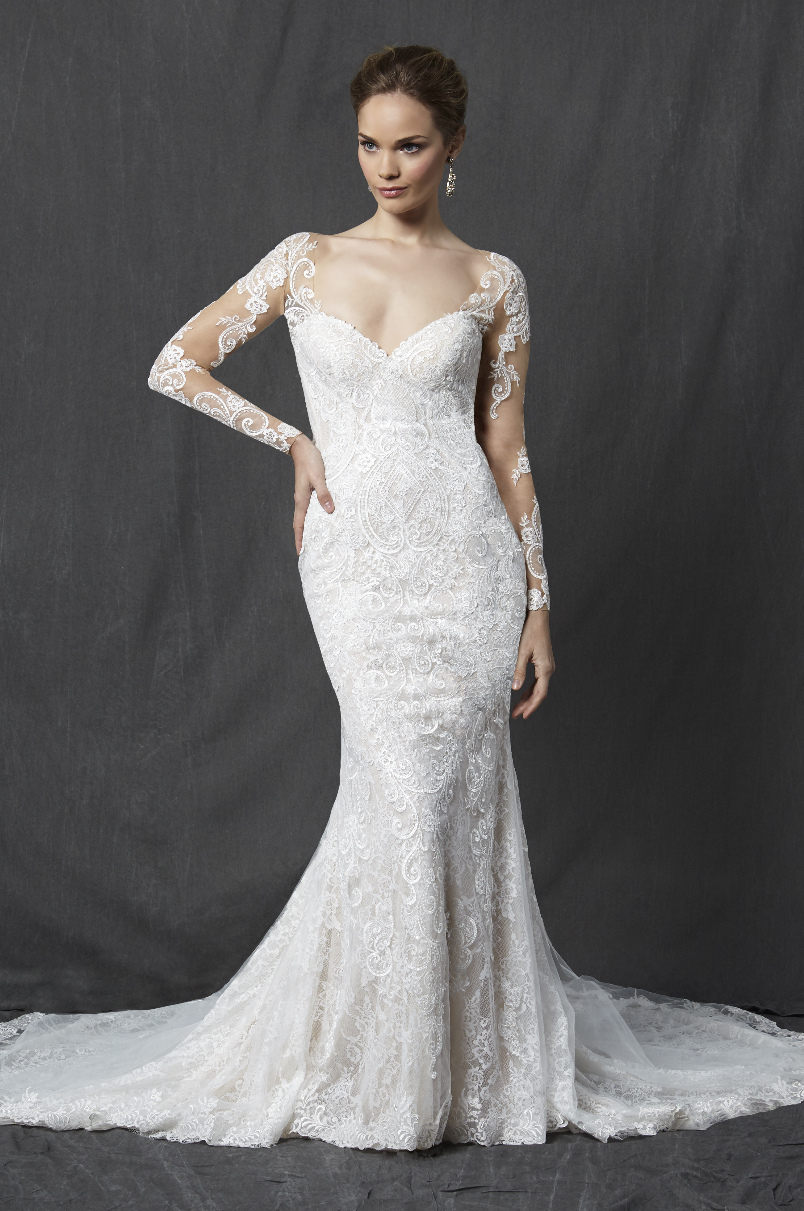 Long Sleeve Sweetheart Full Lace Sheath Wedding Dress Kleinfeld Bridal