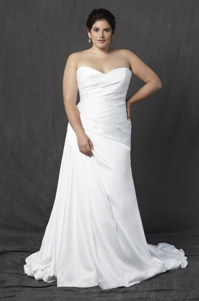 Strapless Sweetheart Ruched A Line Wedding Dress By Michelle Roth Image 1