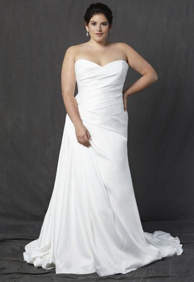 Strapless Sweetheart Ruched A-line Wedding Dress by Michelle Roth