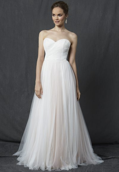 Strapless Sweetheart Ruched Bodice A-line Wedding Dress by Michelle Roth
