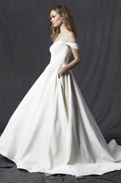 Sweetheart Neckline Off The Shoulder A-line Wedding Dress by Michelle Roth - Image 1