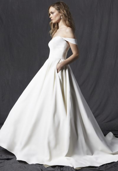 Sweetheart Neckline Off The Shoulder A-line Wedding Dress by Michelle Roth