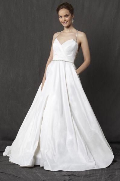 Sweetheart Neckline Spaghetti Strap Taffeta A-line Wedding Dress by Michelle Roth - Image 1
