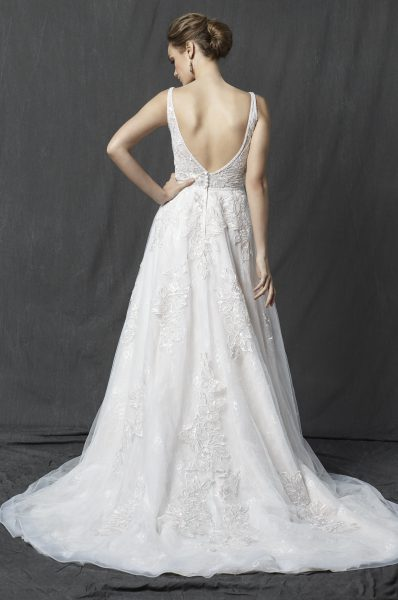 V-neck Sleeveless Lace A-line Wedding Dress by Michelle Roth - Image 2