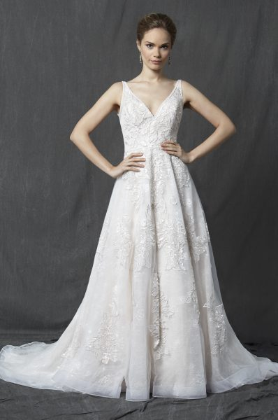 V-neck Sleeveless Lace A-line Wedding Dress by Michelle Roth - Image 1