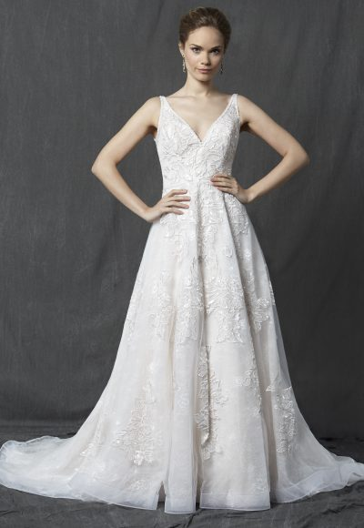 V-neck Sleeveless Lace A-line Wedding Dress by Michelle Roth