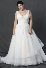 V-neck Sleeveless Lace Bodice A-line Wedding Dress by Michelle Roth - Image 1