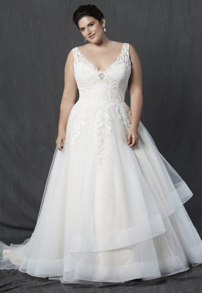 V-neck Sleeveless Lace Bodice A-line Wedding Dress by Michelle Roth