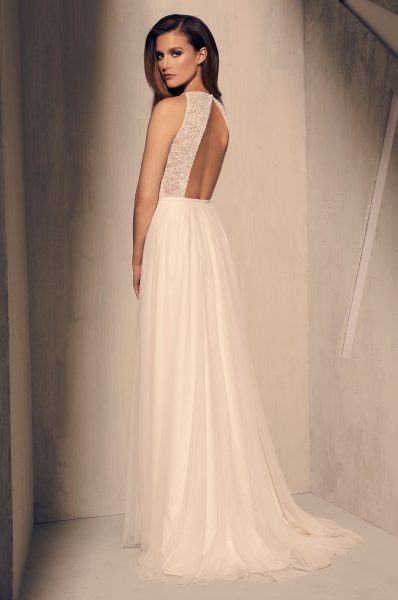 Illusion Lace Sweetheart Neckline Beaded Belt A-line Wedding Dress by Mikaella - Image 2
